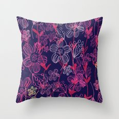 chalk flowers Throw Pillow