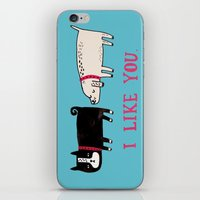 blue iPhone & iPod Skins featuring I Like You. by gemma correll