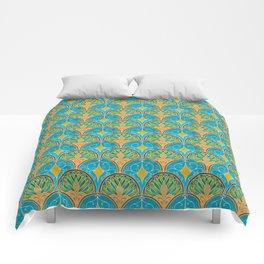 Art Deco Peacock Fans Comforters