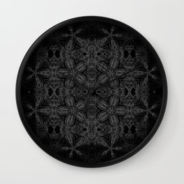 Black Slate Gray Floral Pattern Wall Clock
