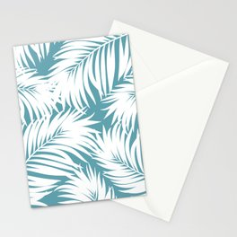 Palm Tree Fronds White on Soft Blue Hawaii Tropical Décor Stationery Cards