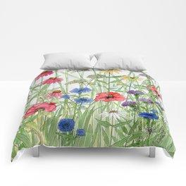 Watercolor of Garden Flower Medley Comforters
