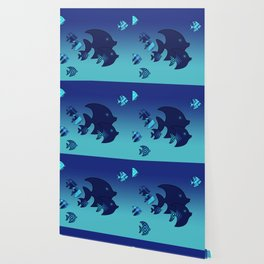 Nine Blue Fish with Patterns Wallpaper