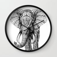 mega man Wall Clocks featuring Ornate Elephant by BIOWORKZ