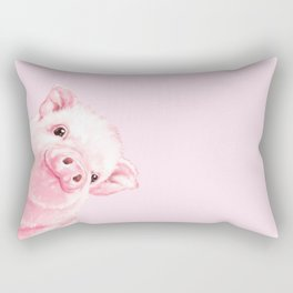 Sneaky Baby Pink Pig Rectangular Pillow