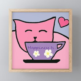 Happiness Is Cats and Tea Framed Mini Art Print