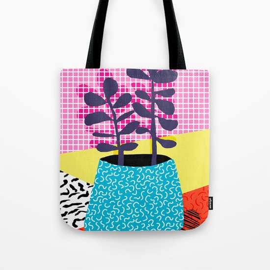 Shibby - neon 80's throwback potted plant indoor garden pink yellow red grid memphis los angeles pal Tote Bag