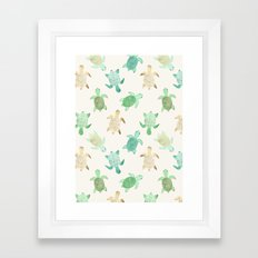 Gilded Jade & Mint Turtles Framed Art Print
