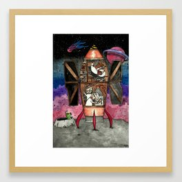 Bunnies and mole visit far-away planets Framed Art Print