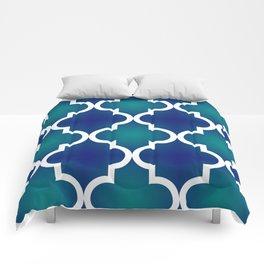 Quatrefoil - Teal and Blue Ombre Comforters