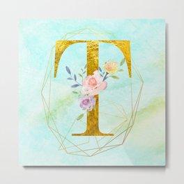 Gold Foil Alphabet Letter T Initials Monogram Frame with a Gold Geometric Wreath Metal Print