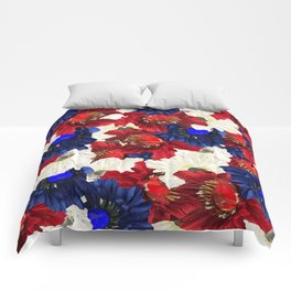 Red White Blue Floral Gems Comforters