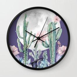 Desert Cactus Full Moon Succulent Garden on Purple Wall Clock