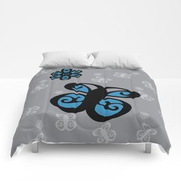 Swirly Butterfly and Flower Design Black, Grey, Blue Color Splash Comforters