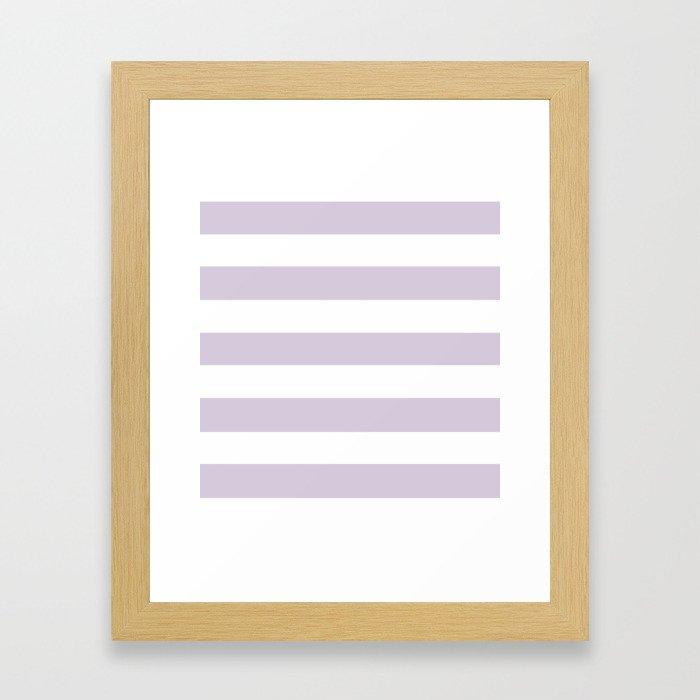 Languid lavender - solid color - white stripes pattern Framed Art Print