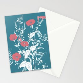 Red and emerald flowers Stationery Cards