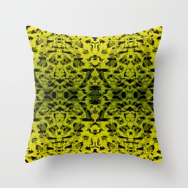 Mirror ornament of yellow spots and velvet blots on black. Throw Pillow