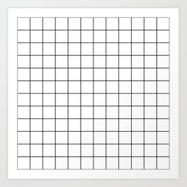 Grid Simple Line White Minimalist Art Print