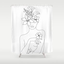 Minimal Line Art Woman with Flowers IV Shower Curtain