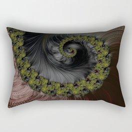 Bark and Moss Brown and green tinted Fractal Swirl Rectangular Pillow