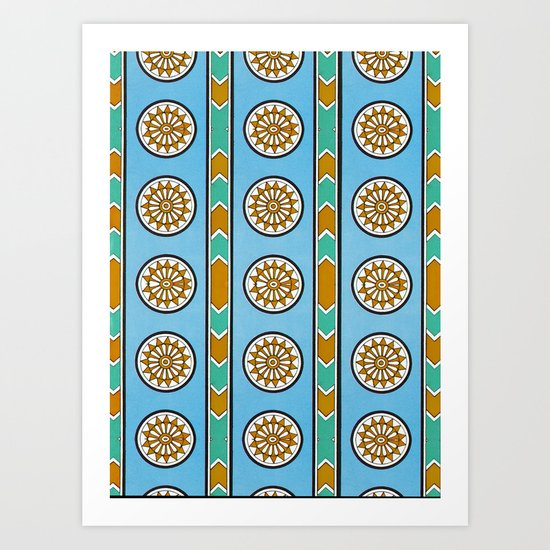 Vintage Assyrian Geometric Design Pattern in Blue, Teal and Mustard Art Print