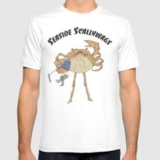 SCALLY CRAB Mens Fitted Tee White MEDIUM