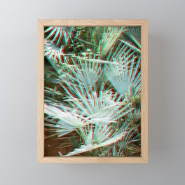 Glitch art / retro 3D style photography | Green, Turquoise, Cyan and pink tropical leaves Framed Mini Art Print