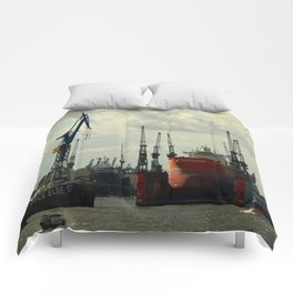 Ship In Dry Dock Comforters
