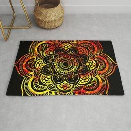 Fiery Sun Mandala Rug