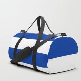 Dark Princess Blue and White Wide Horizontal Cabana Tent Stripe Duffle Bag