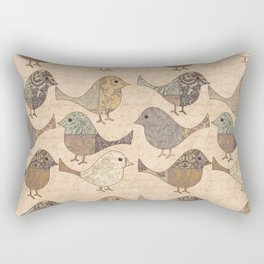 Nostalgic Autumn Patchwork Bird Pattern in warm retro colors #autumndecoration Rectangular Pillow