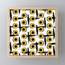 Snowy Owl Eyes Feathers Pattern Framed Mini Art Print