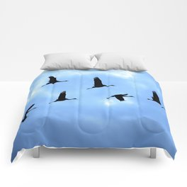 Welcome back! Cranes in flight #decor #society6 Comforters