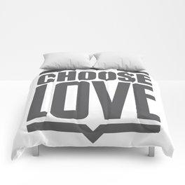 Choose Love Typography Comforters