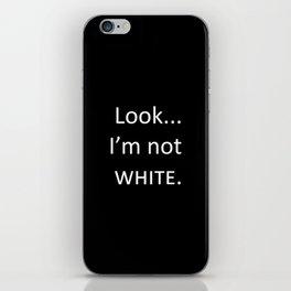 white: black iPhone Skin