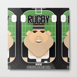Rugby Black - Ruck Scrumpacker - Bob version Metal Print