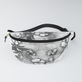 Circle tropical Hibiscus grey Fanny Pack