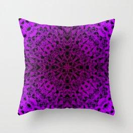 Symmetrical ornament of violet spots and velvet blots on black. Throw Pillow