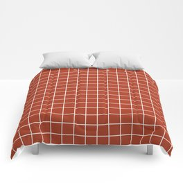 Chinese red - brown color - White Lines Grid Pattern Comforters
