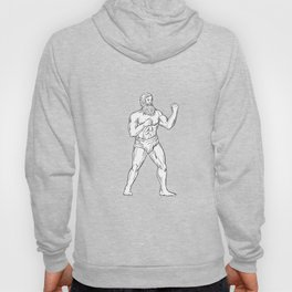 Bearded Boxer Fighting Stance Drawing Black and White Hoody