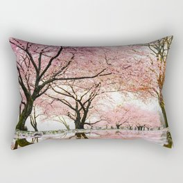 reflective cherry blossoms trees pink petals of flowers Rectangular Pillow
