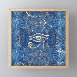 Silver Egyptian Eye of Horus  on blue marble Framed Mini Art Print