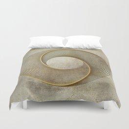 Geometrical Line Art Circle Distressed Gold Duvet Cover