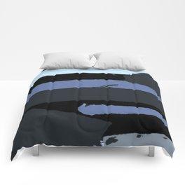 Modern Stripes Black Blue Gray Comforters