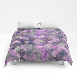 Quatrefoil Moroccan Pattern Lilac Fluorite and Silver Comforters
