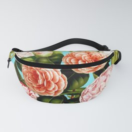 Vintage & Shabby Chic - Teal Floral Camellia  Flowers Watercolor Pattern Fanny Pack