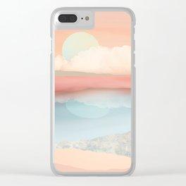Mint Moon Beach Clear iPhone Case