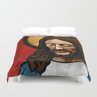 christ Duvet Covers featuring Jesus Christ by Ed Pires