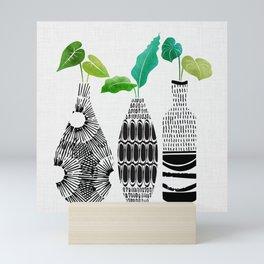 Black and White Tribal Vases Mini Art Print