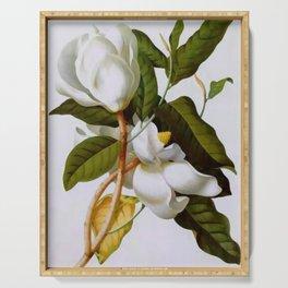 Vintage Botanical White Magnolia Flower Art Serving Tray